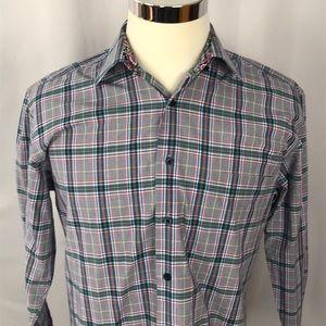 Alan Flusser Button Up flip cuff shirt men's Med